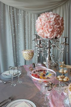 pink silver Centrepiece - without the hanging crystals
