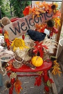 """Cute fall idea for a """"welcome chair"""" on the porch."""
