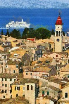 Greece~~G. Ontario, Linoleum Block Printing, Corfu, Old City, Greek Islands, Cool Places To Visit, Drawing Sketches, Painters, Paris Skyline
