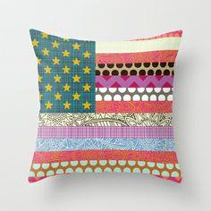 US Beauty flag Throw Pillow  #USA #America #society6 #sharonturner #flag #stars #stripes #pillow #flowers #chevron #cushion #geometric #cute #home #spot #dot #scrummy
