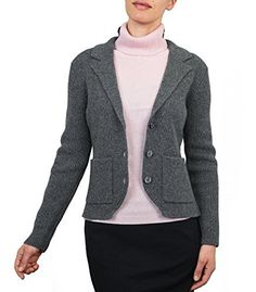 Wool Overs Women's Lambswool Chunky Knitted Jacket Mid Grey Marl Large ** You can find more details by visiting the image link.
