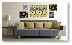 Frame Wraps styles Twig, Lemon Poppy, Flower Burst and Day-Z. Fabric Wall Art. www.frame-wraps.com