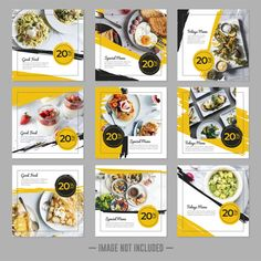 Social media templates restaurant Vectors, Photos and PSD files Food Graphic Design, Food Poster Design, Food Menu Design, Web Design, Social Media Poster, Social Media Banner, Social Media Template, Social Media Design, Feeds Instagram