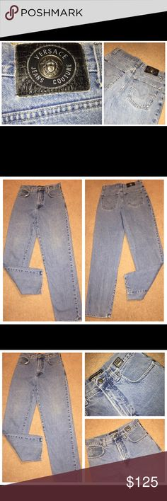 Vintage VERSACE COUTURE 5 Pocket Jeans Sz 30x33 Vintage VERSACE COUTURE 5 Pocket Jeans Sz 30x34. The jeans are tagged Size 31. Actual waist measurement is 30 inches. Inseam is 33 inches. Please see photos for additional information. Versace Jeans Straight