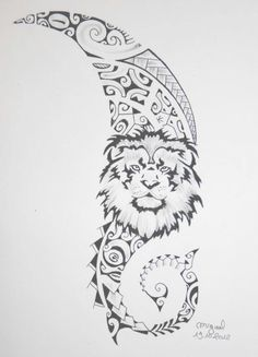 maori angels | Lion Maori Polynesian Tattoo Design