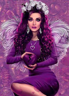 Beautiful Girl Wallpaper, Beautiful Girl Drawing, Beautiful Fantasy Art, Beautiful Gif, Angel Images, Angel Pictures, Images Gif, Fantasy Art Women, Fantasy Girl