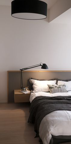 Bedroom in chic tone with linen