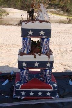 Def not my cake but it's so funny I know he would wont this Redneck Cakes, Redneck Wedding Cakes, Funny Wedding Cakes, Country Wedding Cakes, Funny Wedding Photos, Cute Wedding Ideas, Wedding Humor, Wedding Cake Toppers, Redneck Weddings