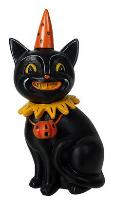 """Check out """"Black Cat Jack in Party Hat"""" by Johanna Parker at Traditions! Traditions is a year-round family owned holiday store that's been in business for over twenty years ~ halloween Black Cat Jack in Party Hat Retro Halloween, Halloween Fotos, Vintage Halloween Photos, Halloween Labels, Vintage Halloween Decorations, Halloween Doll, Creepy Halloween, Halloween Party Decor, Fall Halloween"""