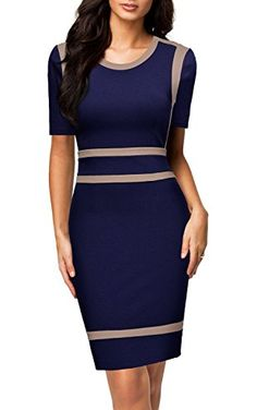 Apparel: Miusol Women's Business Optical Illusion Work Bodycon Pencil Dress (XX-Large, A-Navy Blue) Cute Clothes For Women, Work Dresses For Women, Pretty Clothes, Colorblock Dress, Business Fashion, Business Style, Work Attire, Pencil Dress, Elegant Dresses