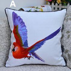 Colored parrot decorative pillows for sofa bird throw pillow