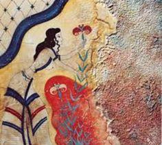 Fresco of a Minoan Beauty, collecting crocus (saffron plant) - Cycladic Settlement of Akrotiri-Santorini island, 1600 BC. Greek History, Ancient History, Art History, Creta, Ancient Greek Art, Ancient Greece, Knossos Palace, Saffron Flower, Saffron Crocus