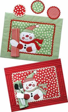 Snowman Mug Rug Pattern | Jolly Snowman Placemat, Napkin & Coaster Pattern - The ... | mug rugs
