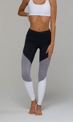 #PintoWinOnzie Yoga Pants | High Rise Track Legging - Slate Grey / Stone / White