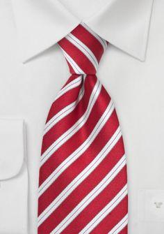 Krawatte mittelrot italienisches Streifen-Dessin