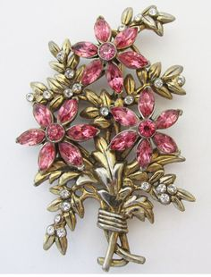 Vintage 1930s or 1940s Gold Toned Pink Rhinestone by GildedTrifles