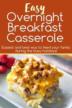 This Overnight Breakfast Casserole is the easiest and best way to feed your family during the busy holidays! Or when family comes to visit. Or anytime, really. #Breakfast #RecipeIdeas #FoodIdeas #Casserole #EasyRecipe #HolidaysRecipe Best Breakfast, Breakfast Ideas, Tyson Foods, Overnight Breakfast Casserole, Lds Primary, Recipe Please, Slice Of Bread, Camping Ideas, Favorite Holiday