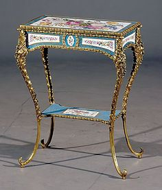 403: Continental porcelain and ormolu side table : Lot 403