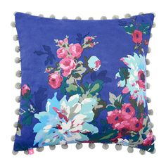 Discover the Joules Chevening Cushion with Trim Detailing - 45x45cm - Deep Blue Floral at Amara