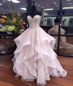 Sweetheart Beaded Prom Dress,Bodice Tulle Prom Dress,Custom Made Evening Dress,17101