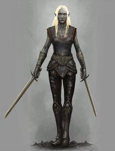 Drow Swordmistress, Steven Bellshaw on ArtStation at https://www.artstation.com/artwork/5WDNw