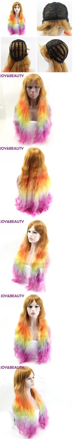 JOY&BEAUTY Rainbow Color 26inches Long Curly Wig Synthetic Hair High Temperature Fiber For Black or White Women Wig