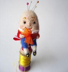 Needle Felted Humpty Dumpty with Pin cushion by MissBumbles