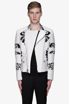 black and white print men clothes | trapunto ribbing and black and white floral accent panels throughout