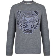 KENZO Embroidered Tiger Logo Sweatshirt (5,735 MXN) ❤ liked on Polyvore featuring tops, hoodies, sweatshirts, crew-neck sweatshirts, cotton crew neck sweatshirt, crew neck sweatshirts, kenzo and kenzo sweatshirts