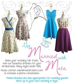 Get married with Mata! Make your wedding #fairtrade with lots of beautiful options for your bridesmaids.