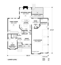 Craftsman Farmhouse Level One of Plan 93496
