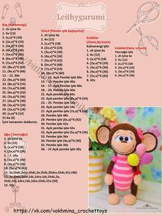 Amigurumi Mesh Toy Ballon Lu Monkey Making Handmade Crotchet Patterns, Crochet Amigurumi Free Patterns, Crochet Animal Patterns, Crochet Doll Pattern, Stuffed Animal Patterns, Crochet Patterns Amigurumi, Amigurumi Doll, Crochet Animals, Crochet Dolls