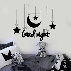 New Design Vinyl Wall Stickers For Kids Rooms Good Night Bedroom Decoration Art Crescent Stars Baby Art Mural Decals Bedroom Wall Colors, Wall Decals For Bedroom, Bedroom Art, Kids Bedroom, Kids Rooms, Room Stickers, Vinyl Wall Stickers, Stickers For Walls, Wall Painting Decor