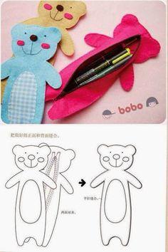 I love this idea for kids Felt Diy, Felt Crafts, Fabric Crafts, Sewing Crafts, Kids Crafts, Sewing Projects, Felt Patterns, Sewing Patterns, Pencil Bags
