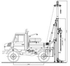 Wiertnica samochodowa typ H25S w położeniu roboczym