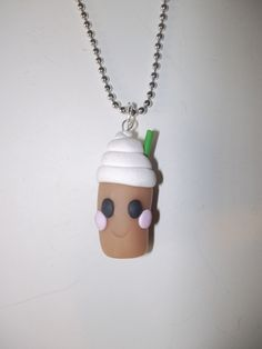 """Handmade Polymer Clay Smiling Ice Cream Float on 24"""" Long Nickel-Free Ball Chain Necklace by DJsVintageHandmade on Etsy"""