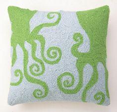 Mermaid Nursery Decor: Green & Blue Octopus Hook Pillow