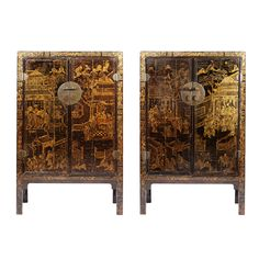 ​A fine pair of large scale Chinese export black lacquer cabinets decorated with gilt chinoiseries. Each with double doors opening to shelves and drawers, and raised on square legs. - China, 1880  H: 200 cm (78.74 inches)