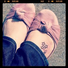 A star for each of my boys, plus a shooting star for the baby I lost.   on my list is DONE.  (Star Foot Tattoo)