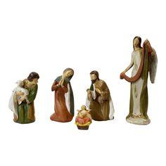 Hand carved wood 5-Piece Nativity Set