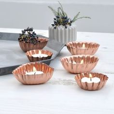 Copper Mould Tea Light Holders, Set Of Three - candles & candlesticks