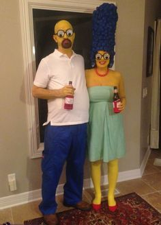 simpsons costumes 114 Creative DIY Couples Costumes for Halloween via Brit + Co