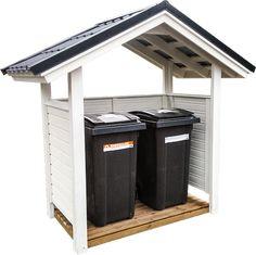 Osta roskakatos edullisesti ilman välikäsiä. Täysin valmis, korkealaatuinen peltikate sisältyy kaikkiin toimituksiin, ja kiinteään lisähintaan tilattava haluamasivärinen pintamaalaustekeehankinnasta vaivattoman. Huom. Kuvassa näkyvä lattiaelementti on erikseen tilattava lisävaruste. Bin Store, House Yard, Trash Bins, Space Saving, Pergola, Shed, Woodworking, Outdoor Structures, Storage