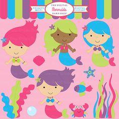 digital clipart mermaid clip art  Mermaids by DigitalBakeShop, $5.00