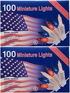 100 Patriotic String Lights Red White Blue Miniature July 4th Indoor  outdoo >>> Click on the image for additional details.