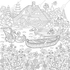 Rural Landscape Farm House And Animals Coloring Pages Book For Kids Adults Instant Download Print