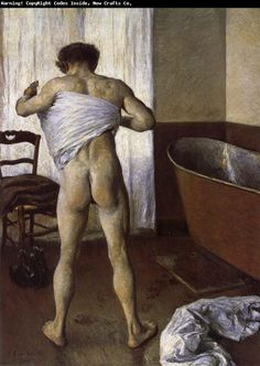 Man at His Bath - Gustave Caillebotte - The Athenaeum this painting was so shocking it was shown in a separate room. Considering all the nude women in art it's hard to believe a mans backside could shock Parisians. Figure Painting, Painting & Drawing, Kunsthistorisches Museum, Online Magazine, Impressionist Artists, Art Of Man, Post Impressionism, Expositions, Portraits