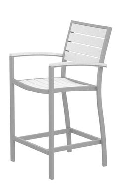 Polywood A201FASWH Euro Counter Arm Chair in Textured Silver Aluminum Frame / White