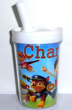 Paw Patrol Childs Tumbler With Personalized Name, Paw Patrol Party or Leisure Child's Drinking Cup with Lid & Straw 8oz Get your childs name placed on this spill-proof tumbler! You can use as a party favor as well!