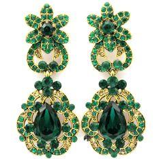 New Fashion Women Elegant Swarovski standard Crystal Earrings  dangle Earrings Gold & Emerald Green by nostalgicpearls on Etsy